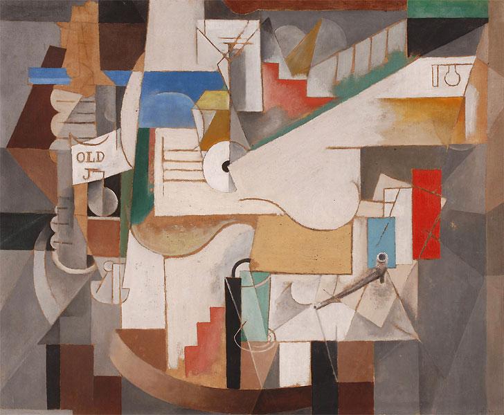 Картина Пабло Пикассо. Бутылка, гитара и трубка. 1912