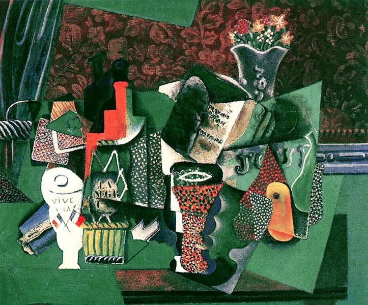 Картина Пабло Пикассо. Игральные карты, бокалы, бутылка рома (Да зравствует Франция). 1914