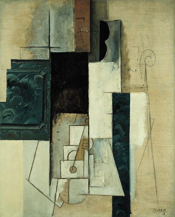 Картина Пабло Пикассо. Женщина с гитарой. 1913