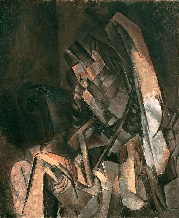 Картина Пабло Пикассо. Жещина, сидящая в кресле. 1910