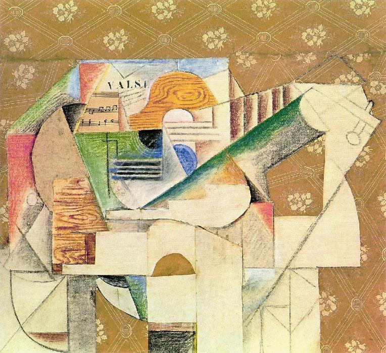 Картина Пабло Пикассо. Гитара и ноты, 1912