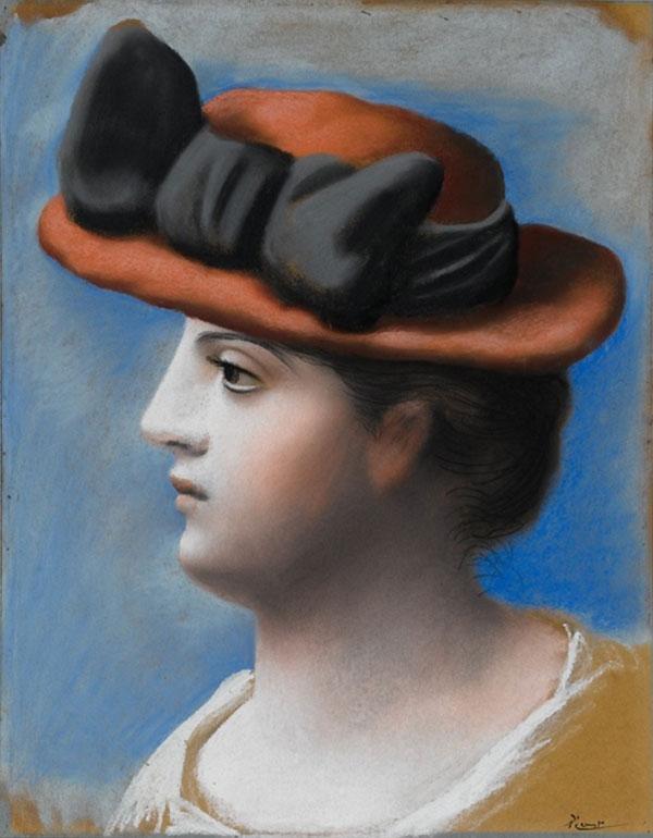 Картина Пабло Пикассо. Молодая женщина в красной шляпке. 1921