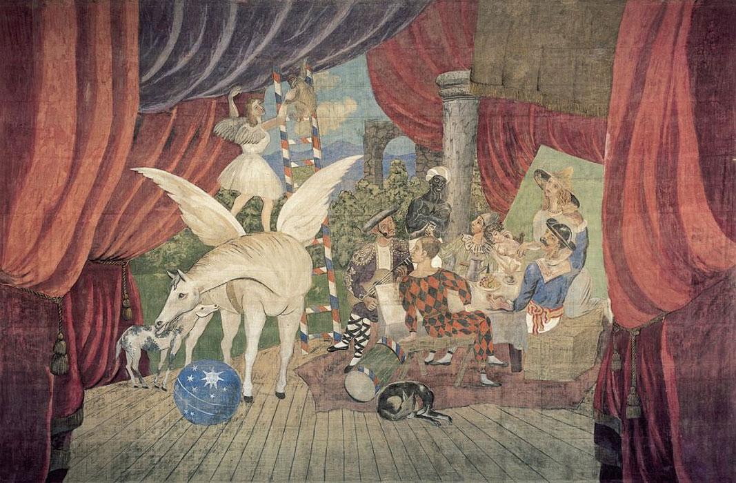Картина Пабло Пикассо. Занавес к балету Парад. 1917