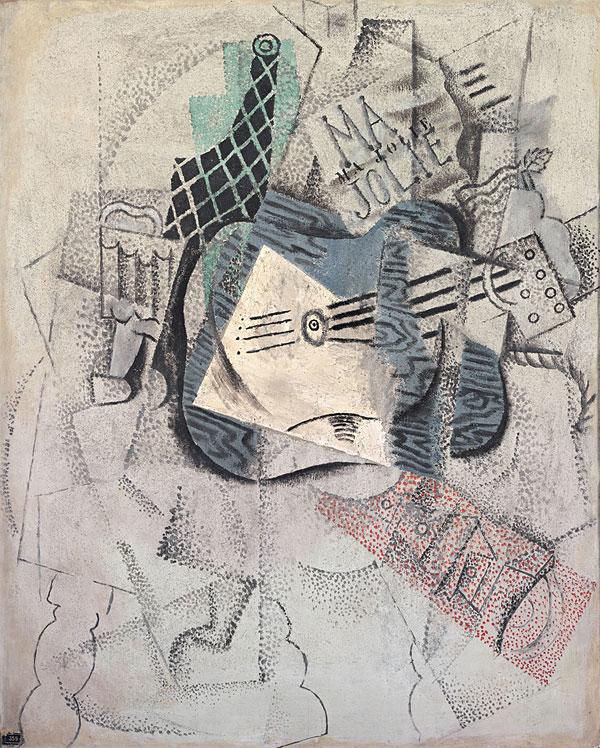 Картина Пабло Пикассо. Бокал, бутылка, гитара (Ма Джоли). 1914