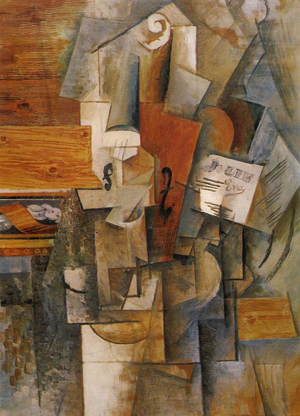Картина Пабло Пикассо. Скрипка (Я люблю Еву). 1912
