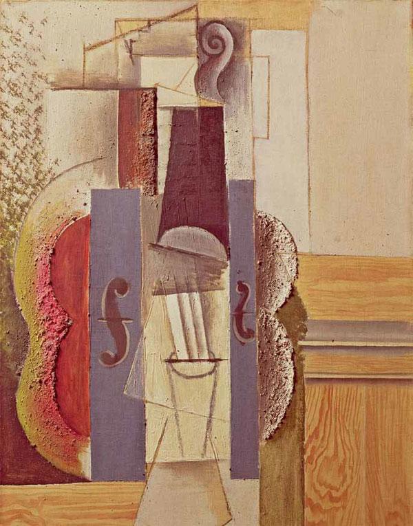 Картина Пабло Пикассо. Скрипка на стене. 1913