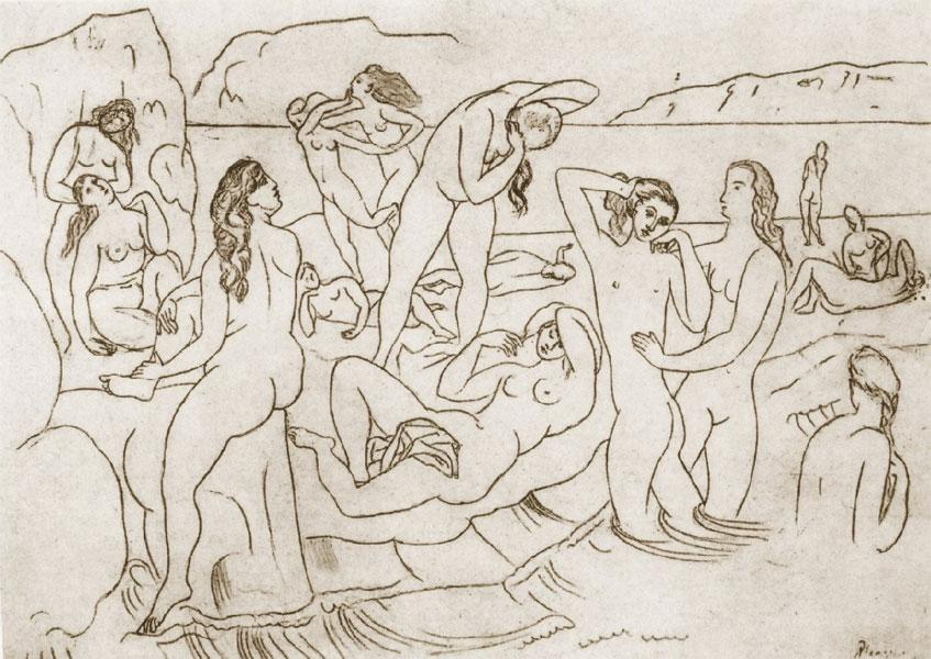 Картина Пабло Пикассо. Купальщицы (рисунок). 1918