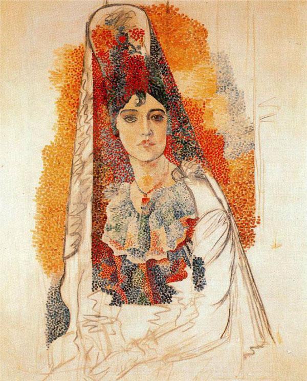 Картина Пабло Пикассо. Женщина в мантилье. 1917