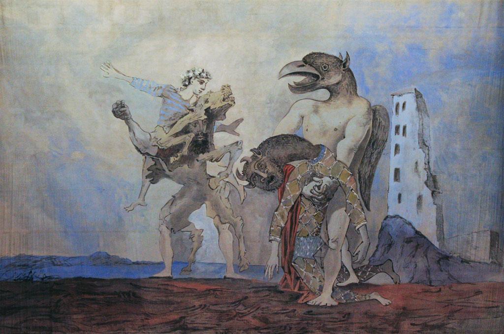 Картина Пабло Пикассо. Мертвый Минотавр в костюме Арлекина (занавес). 1936