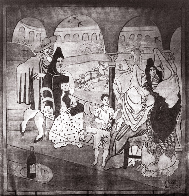 Картина Пабло Пикассо. Занавес к балету Треуголка. 1919