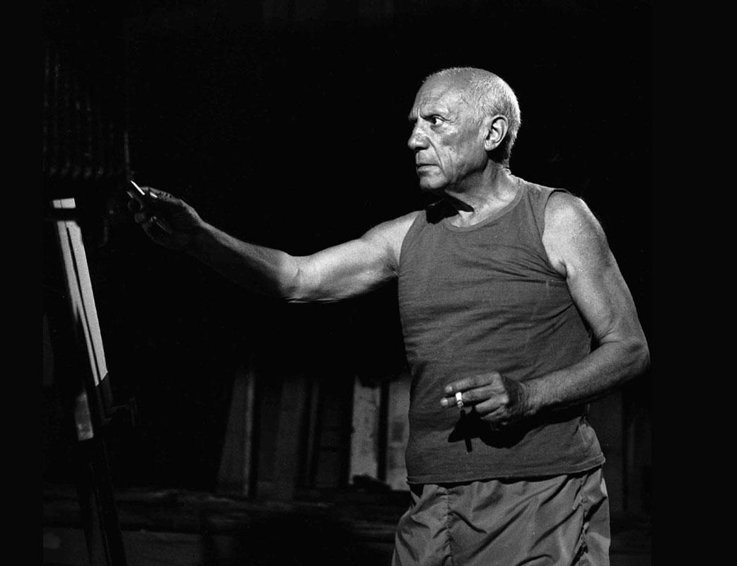 На съемках фильма Таинство Пикассо, Ницца, 1955. Фото Андре Вилье