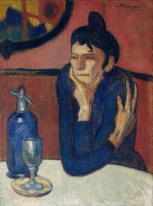 Пабло Пикассо. Облокотившийся Арлекин. 1901. Любительница абсента | Pablo Picasso online  - фото, фотографии, видео, фильмы