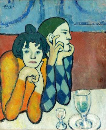 Пабло Пикассо. Арлекин и его подружка (Странствующие гимнасты). 1901. Голубой период творчества | Pablo Picasso online – картины Герника, Женщина с гитарой