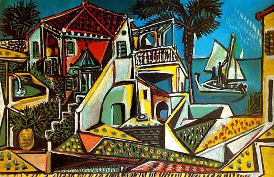 Пабло Пикассо. Средиземноморский пейзаж. 1952. Послевоенный период | Pablo Picasso онлайн – работы, картины, живопись, рисунки, скульптура