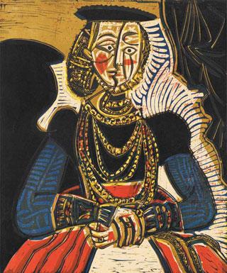 Портрет молодой девушки, по Кранаху мл., II. 1958. Поздний период жизни художника | Pablo Picasso online  - фото, фотографии, видео, фильмы
