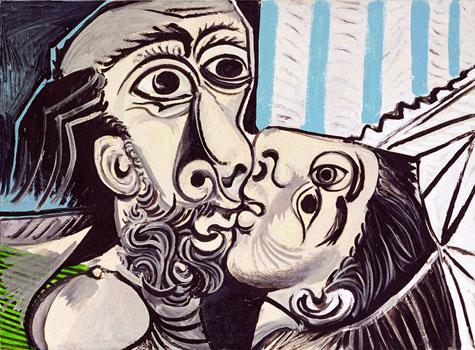 Пабло Пикассо. Поцелуй. 1969. Поздний период творчества | Pablo Picasso онлайн – работы, картины, живопись, рисунки, скульптура