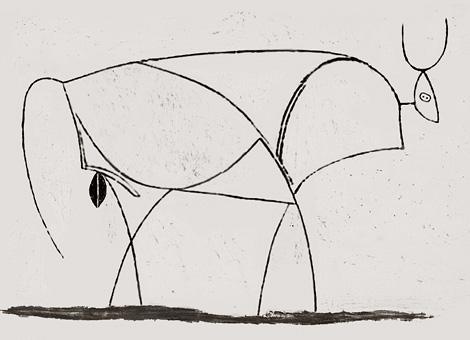 Серия литографий Бык состоит из 11 изображений, в которых нарастает схематичность и условность образа.