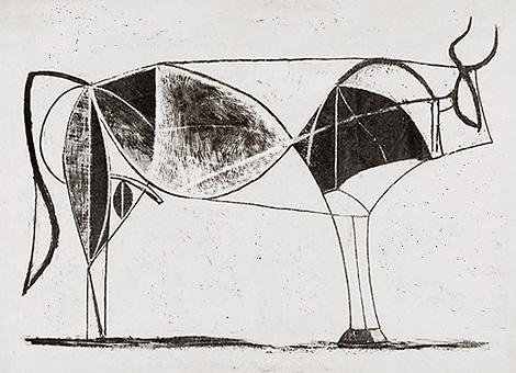 Схематичные, условные  изображения Быка на литографиях 1945-1946 годов