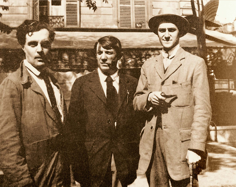 Модильяни, Пикассо и Андре Сальмон перед кафе Ротонда, Париж, 1916. Архивное фото