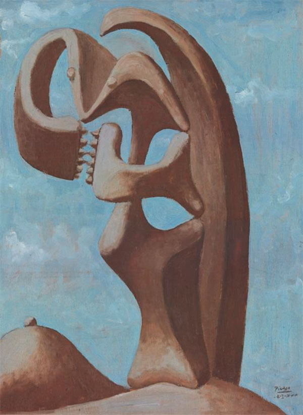Картина Пабло Пикассо. Абстракция на фоне синего облачного неба. 1930