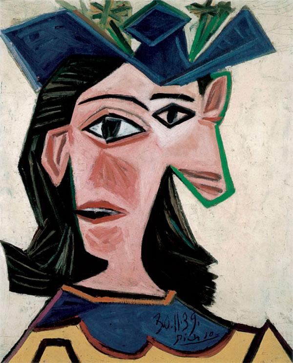 Картина Пабло Пикассо. Бюст женщины в шляпе (Дора). 1939