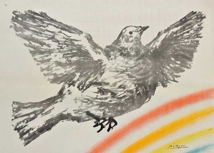 Картина Пабло Пикассо. Летящий голубь 2 (Голубь мира). 1952