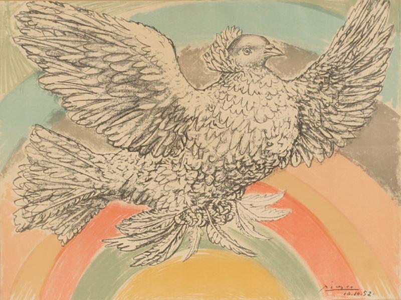 Картина Пабло Пикассо. Летящий голубь (Голубь мира). 1952