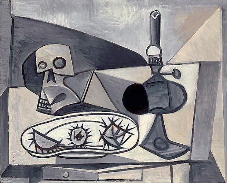 Картина Пабло Пикассо. Череп, морские ежи и лампа на столе. 1946