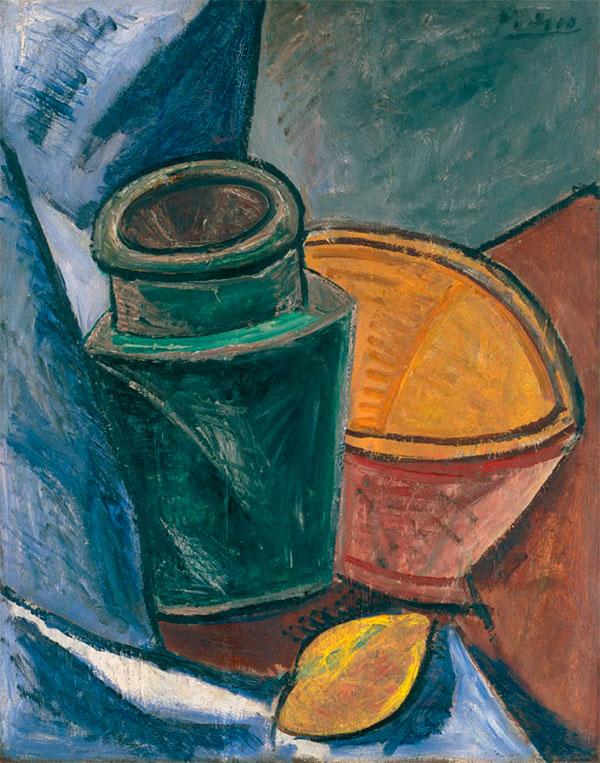 Картина Пабло Пикассо. Кувшин, пиала и лимон. 1907