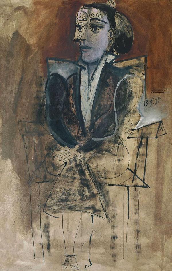 Картина Пабло Пикассо. Сидящая Дора Маар. 1938
