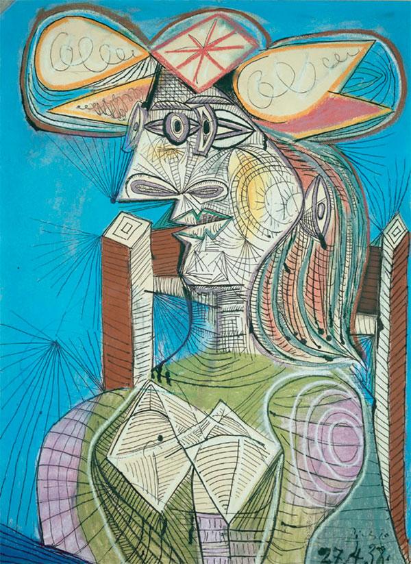 Картина Пабло Пикассо. Сидящая женщина (Дора). 1938