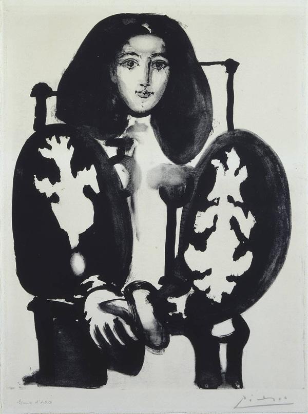 Картина Пабло Пикассо. Женщина в кресле (Польское манто). 1949