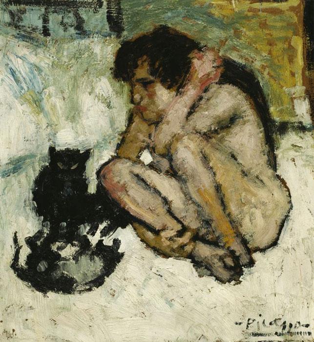 Картина Пабло Пикассо. Сумасшедшая с кошками. 1901