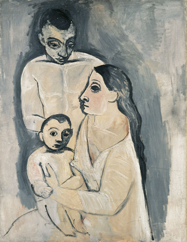 Картина Пабло Пикассо. Мужчина, женщина и ребенок. 1906