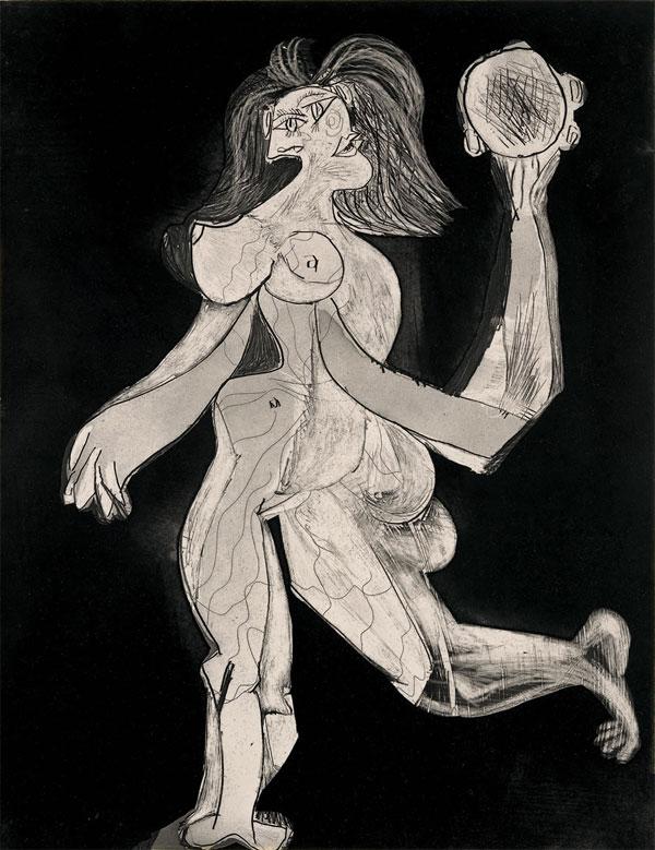 Картина Пабло Пикассо. Женщина с бубном. 1939
