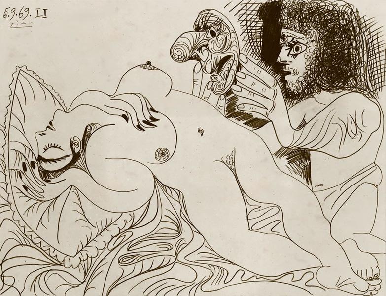 Картина Пабло Пикассо. Лежащая обнаженная и человек с маской. 1969