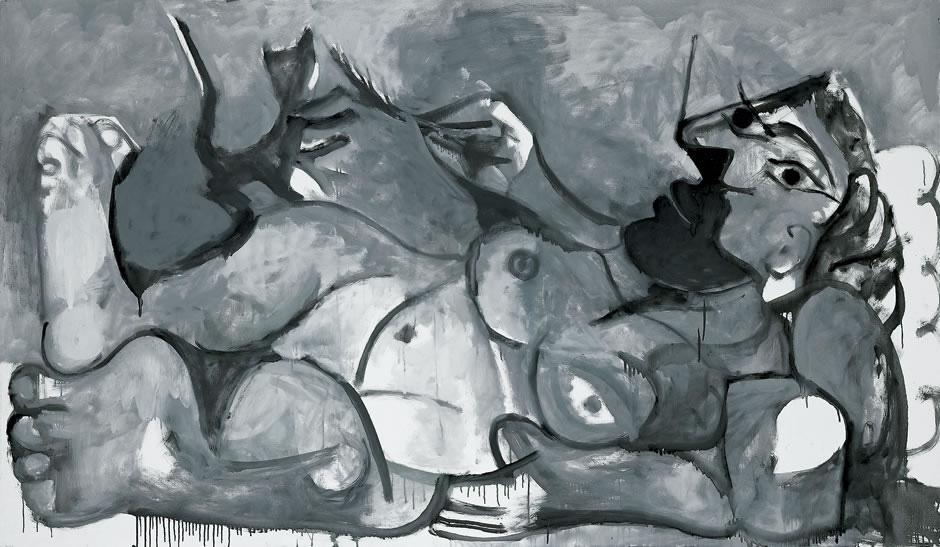 Картина Пабло Пикассо. Лежащая женщина играет с кошкой. 1964