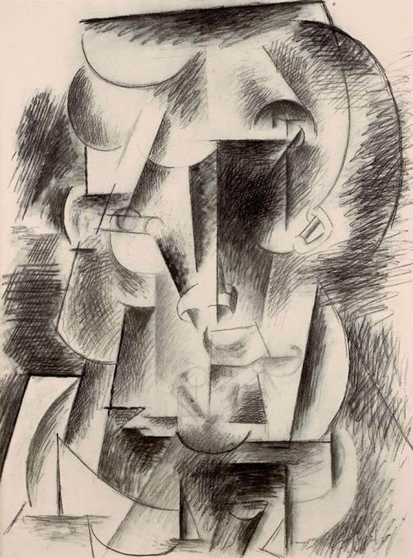 Картина Пабло Пикассо. Голова мужчины (с усами). 1910