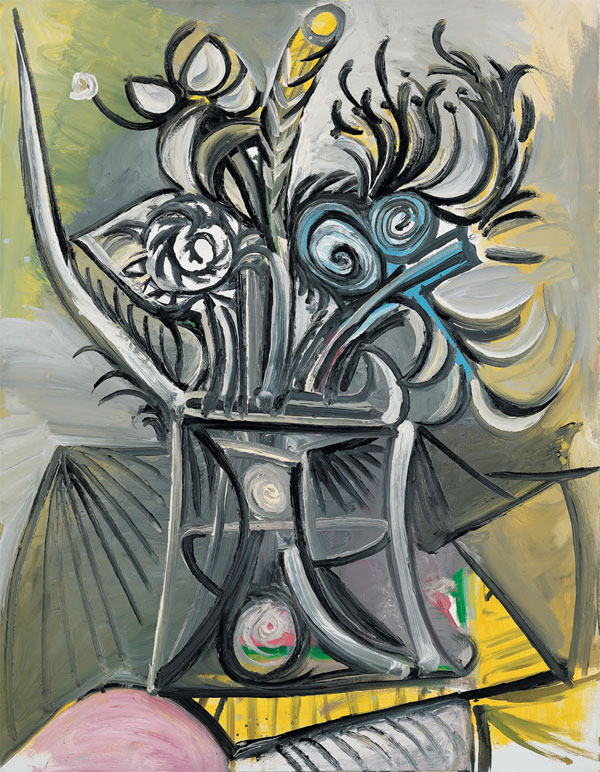 Картина Пабло Пикассо. Ваза с цветами на столе. 1969