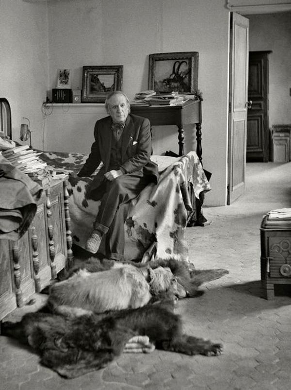 Пабло Пикассо со своей афганской борзой, Париж, 1944. Фото, Герберт Лист