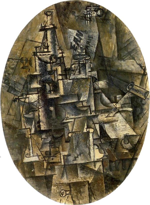 Картина Пабло Пикассо. Бутылка, бокал, вилка. 1911