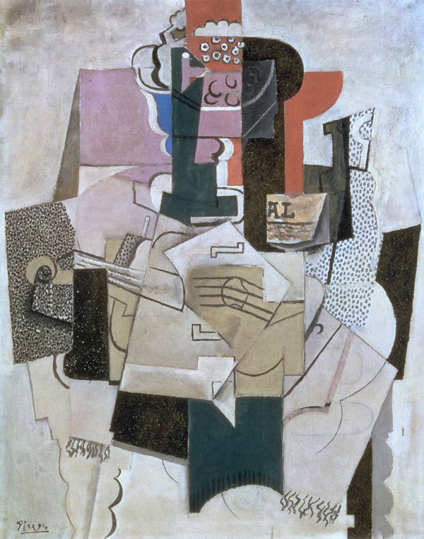Картина Пабло Пикассо. Ваза с фруктами, скрипка и бутылка. 1914