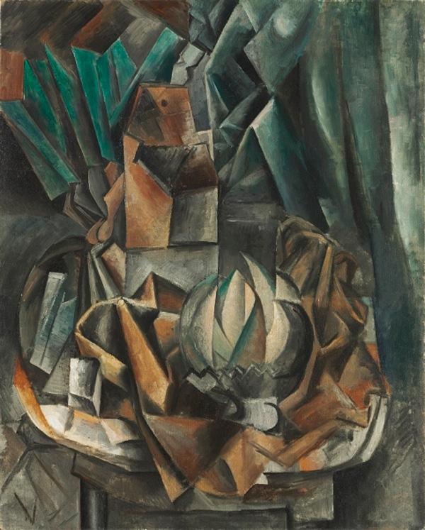 Картина Пабло Пикассо. Веер, солонка, дыня. 1909