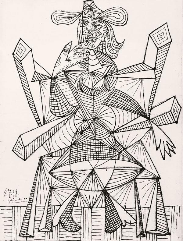 Картина Пабло Пикассо. Женщина, сидящая в кресле (Дора). 1938