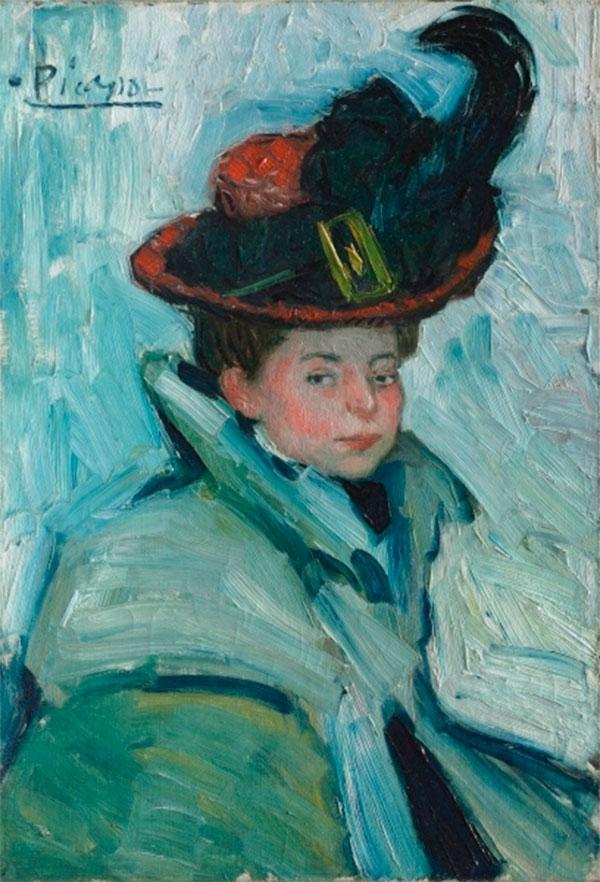 Картина Пабло Пикассо. Женщина в шляпе с пером. 1901