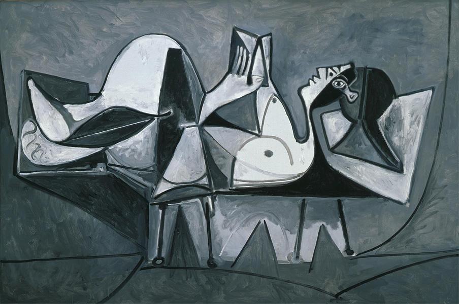 Картина Пабло Пикассо. Лежащая читающая женщина. 1960