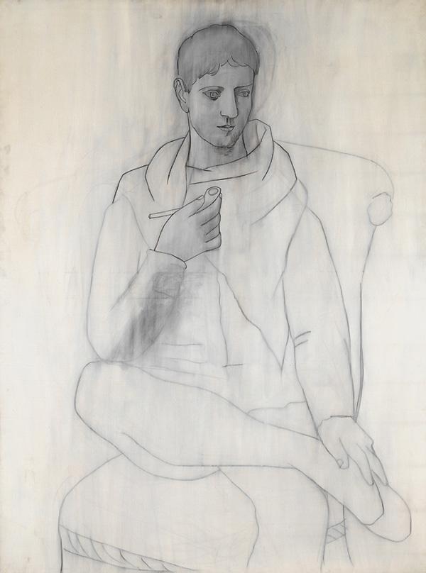 Картина Пабло Пикассо. Человек с трубкой. 1923