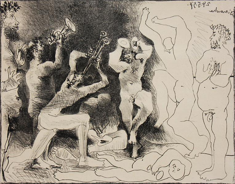 Картина Пабло Пикассо. Танец фавна. 1957