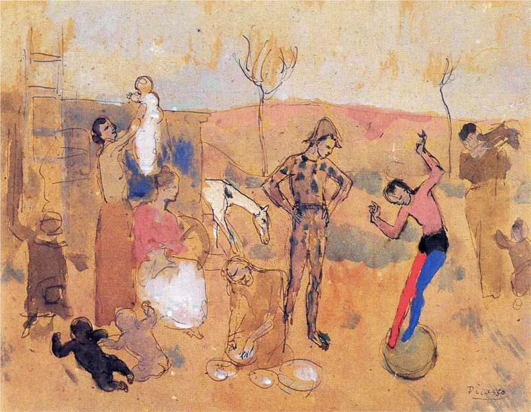 Картина Пабло Пикассо. Семья циркачей. 1905