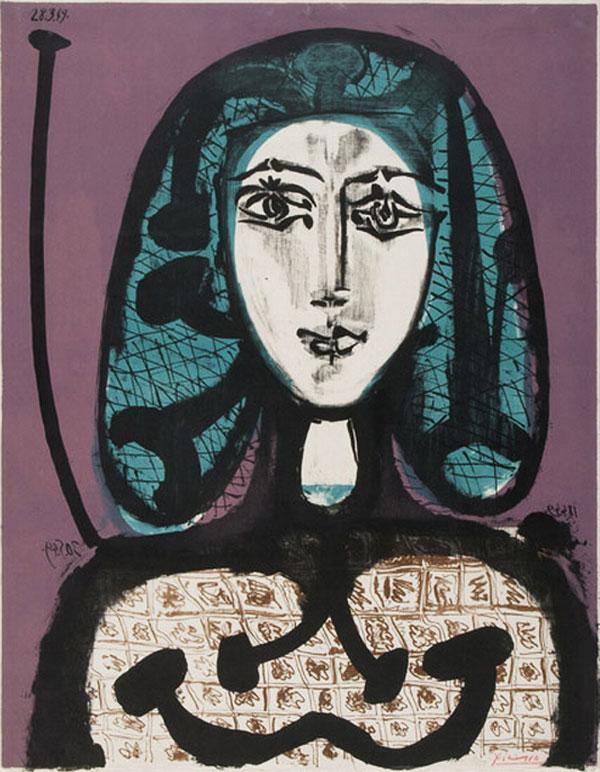 Картина Пабло Пикассо. Женщина с сеткой для волос. 1949